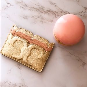 Tory Burch gold pink shimmery wallet